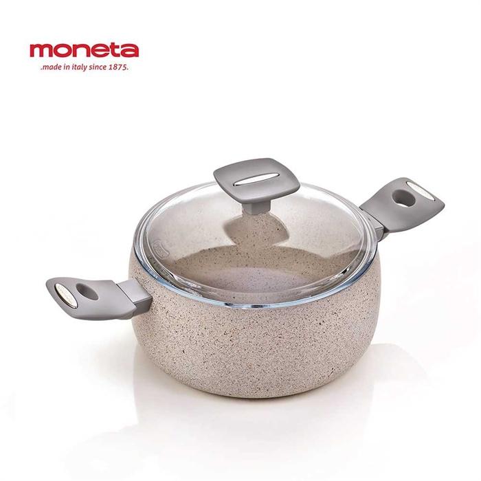 Moneta Mammola Stone Frying Pan Non-Stick 24cm + Casserole w/glass lid 24cm